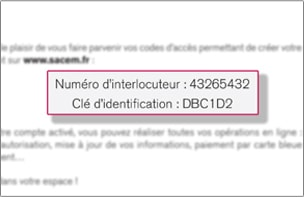 Identifiants sur courrier - La Sacem